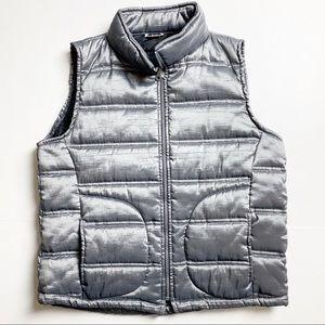 Vintage silver puffer vest retro 80s style